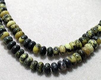 Russian Serpentine Gemstone Rondelle Beads- 8x5mm