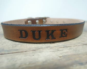 Custom Leather Dog Collars - Personalized Dog Collars -  Small Dog Collars