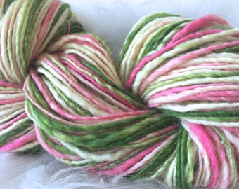 Yarn Handspun, Bulky- WATERMELON CANDY- Bluefaced leicester/silk ,crochet, knit supplies,weaving, supplies, doll hair 160yds. Free Shipping