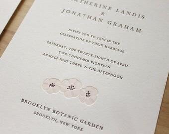 Letterpress Wedding Invitation - Cherry Blossom, Letterpress Wedding Invitation