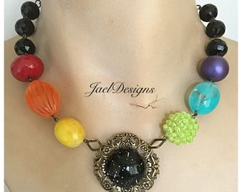 Vintage Rainbow Bead Statement Necklace - Upcycled Lucite Earring - OOAK