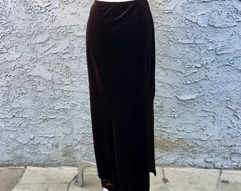 Vintage Chocolate Brown Velvet Maxi Skirt w/ Double High Slits, Size Medium - Retro 90s Fashion