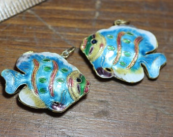 Cloisonne Fish Charms Big Colorful Fish Pendant Beads Enameled Metal