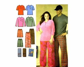 SALE Misses Mens Sleepwear Pants Shorts Knit Top Remote Control Holder Simplicity 3646 Sewing Pattern Size XS - S - M UNcut