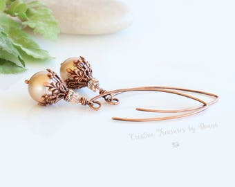Gift For Her, Copper Earrings, Swarovski Pearls Crystals, Copper Rhinestone Spacers, Victorian Earrings, Bride Earrings, Pearl Earrings