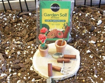 SUMMER SALE 20 % off Fairy or gnome Garden miniature potting soil, pots and garden tools