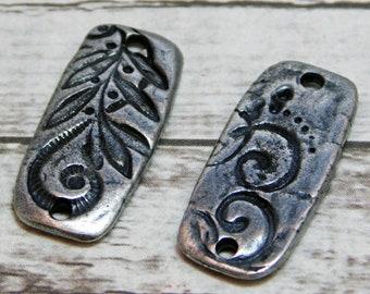 23x10mm - Connector Links - Silver Charms - Silver Pendants - TierraCast - Jardin - Dulce Vida - 2pcs (2838)