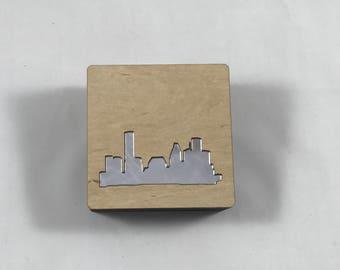 Handmade wood and silver Houston skyline treasure box with lift-off lid