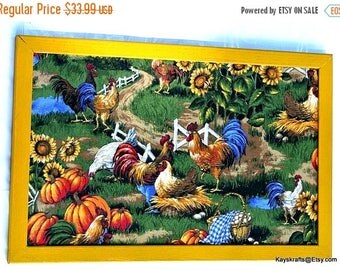 July 4th Sale Chickens and Roosters in the Pumpkin Patch Ochre Frame Cork Board 17x11 Tack Board Barnyard Bird Cork Pin Board Cork Memo Bull