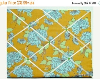 Christmas In July 30% Off Aqua Flower on Mustard Memory Board French Memo Board, Fabric Ribbon Board, Ribbon Photo Board, Memo Bulletin Boar