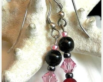 Eclipse Sale Fuchsia Pink Black Bead Dangle Earrings Vintage Bead Earrings Fuchsia Dangle Earrings French Hook Earrings Costume Jewelry
