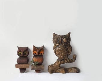 Retro Owl Plaques, Lot of 3 Mid Century Wall Hangings, 1970's Woodland Birds, Vintage Home Decor