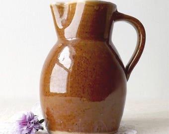 Brown Pottery Pitcher, Vintage Stoneware Jug, Primitive Farmhouse Kitchen Decor