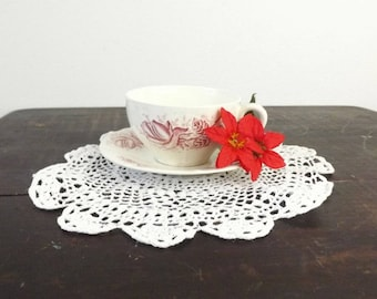 Red Transferware Cup & Saucer, Boch Freres La Louviere, Douglas Pattern, Pink Transfer Ware, Made in Belgium, Wedding Decor Teacup