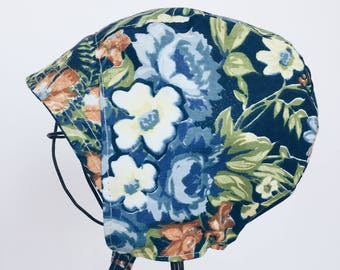 Baby Summer Bonnet in Blue Floral Cotton with Visor