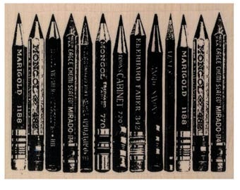 Pencils  rubber stamp stamps   number 20104 wood mounted, unmounted or cling stamp