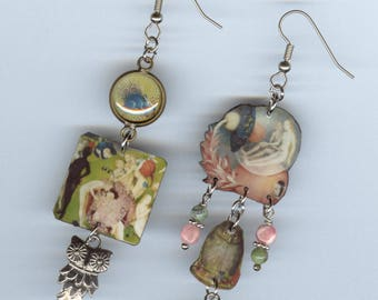 Garden of Earthly Delights earrings -  Hieronymus Bosch asymmetrical earring  Designs by Annette -  Renaissance owl porcupine fantasy nature