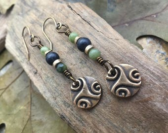 Spiral Earrings, Triskele, Triskelion, Connemara Marble, Irish Celtic Jewelry, Bronze Spirals, Pagan Druid Earrings, Triple Spiral Earrings
