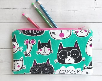 Cat Zipper Pouch/ Pencil Pouch /Cat Lover Gift /School Supplies /Cat Pencil Case /Cat Mom Gift /Back To School /Organizer Bag /Makeup Bag