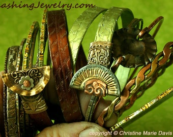 Chocolate Brown and Lime Green boho GYPSY bangle stack .... smashed knitting needle BRACELETS and beaten bollywood bangles
