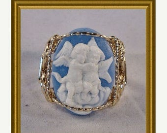 Moving Sale 40% Off Rolled Gold Blue Cherub Cameo Ring