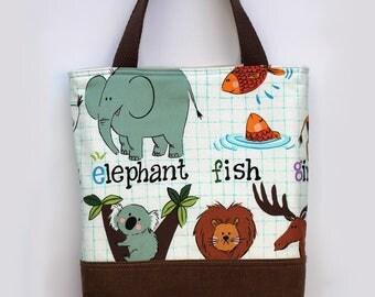 Toddler tote bag, Scripture bag, bible, Beach, pool, library bag, diaper bag, Dance bag, preschool, Book bag, kid bag, Zoo animals, alphabet