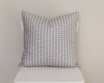 """Couch throw pillow Cover, Invisible zipper, closure, Tan Arrows. 18"""" square, Home decor, cushion, canvas fabric front and back"""