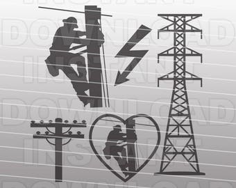 Electrical Lineman SVG File,Electrician SVG File,Lineman SVG-Vector Clip Art-Commercial & Personal Use-Cricut,Cameo,Silhouette,Vinyl,Decal