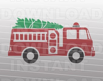 Christmas Fire Truck SVG File,Fire Engine svg,Tree Farm svg,Cricut svg,Silhouette svg,Vinyl Cut svg,Vector Art for Commercial & Personal Use