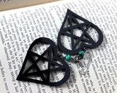 Black Acrylic Heart Pentagram Earrings with Malachite Beads - Halloween Goth Witchy Psychobilly Pentacle