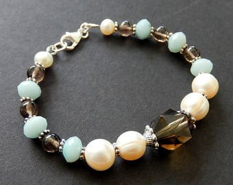 Smoky Quartz, Amazonite Bracelet, Beaded Pearl Bracelet, Sterling Silver Stone Jewelry