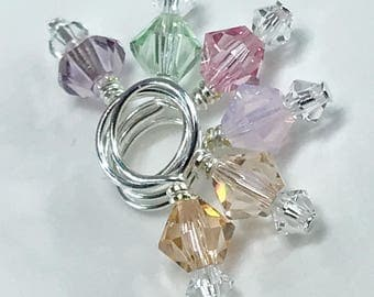 Stitch Markers - MINIS Tenderness Mix and Crystal Swarovski Crystal