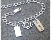Charm Anklet - Serenity Lotus and Custom Stamped Date Charm