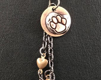 Brass Paw Dangle Necklace, Soldered Metal Jewelry