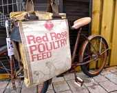Red Rose Poultry Feed - Minnesota - Americana Vintage Seed Feed Sack Book Tote - OOAK Canvas & Leather Tote... Selina Vaughan