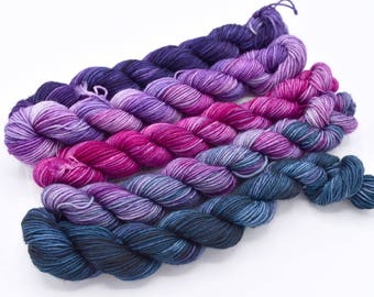 Deep Purple Gradient Set Minis or Half Skeins Shawl Set - Dyed to Order