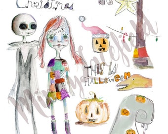 Nightmare Before Christmas journaling collage sheets - by Mindy Lacefield