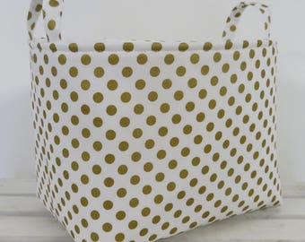Storage Organization Fabric Basket Container Organizer Bin - Nursery Decor- Metallic Gold Small Dots on White Fabric - Medium Size