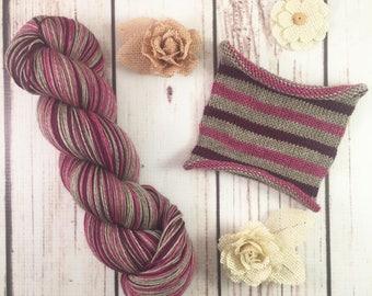 Purple Prose: Hand-dyed gradient sock yarn, 70/20/10 SW merino, yak, nylon