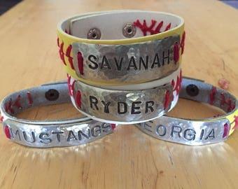 Baseball or Softball Personalized Name or Number Leather Stitch Bracelet Baseball/Softball MOM