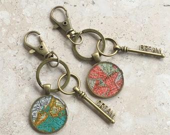 Map Keychain  Custom City with Bronze Dream Key  Teacher or Graduation Gift