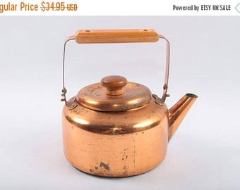 Vintage, Brass, Copper, Kettle, Teapot, Wooden horizontal handle, Lid with round handle, Kitchen, Retro, Decor ~The Pink Room ~ 170314