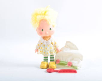 Strawberry Shortcake, Kenner, Lemon Meringue, Vintage, Doll, White Hat, Yellow Hair, Dress, Yellow Dots, Red Comb ~ The Pink Room ~ 161123C