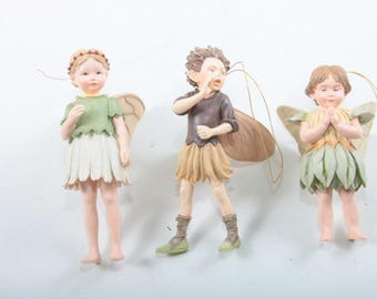 Alphabet Fairies, Christmas Tree Ornaments, Vintage, Forest Fairies, Set, Girl, Boy, Wearing Skirts, Wings, Pointy Ears Golden ~ 170521