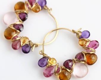 Rose Quartz, Amethyst and Citrine Hoop Earrings. Gold Fill Gemstone Hoop Earrings.