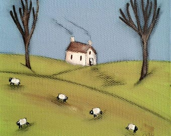 Cottage and Sheep Art Print Cosy Cottage