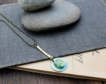 Necklace, Vintage Tin Pendant, Brass Faceted Ball Chain