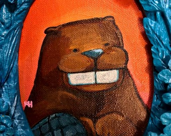 Original Painting of a friendly Beaver on an Orange background in a 3 Dimensional 6x8 inch repurposed Blue painted frame