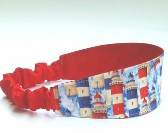 Lighthouse Headband, Reversible Headband, Elastic Headband, Red Headband, White Headband, Blue Headband, Flag Headband, Summer Outdoors