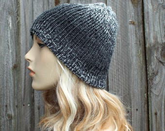 Double Knit Hat Silver and Charcoal Grey Mens Beanie, Grey Womens Beanie, Reversible Thick Winter Hat - READY TO SHIP